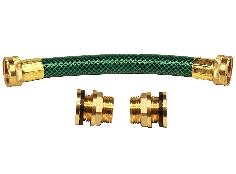 RAINPAL Rain Barrel Linking/Link/Connector Kit (Two Brass Bulkhead Tank Fittings and One 8 inch hose) (RBL020)