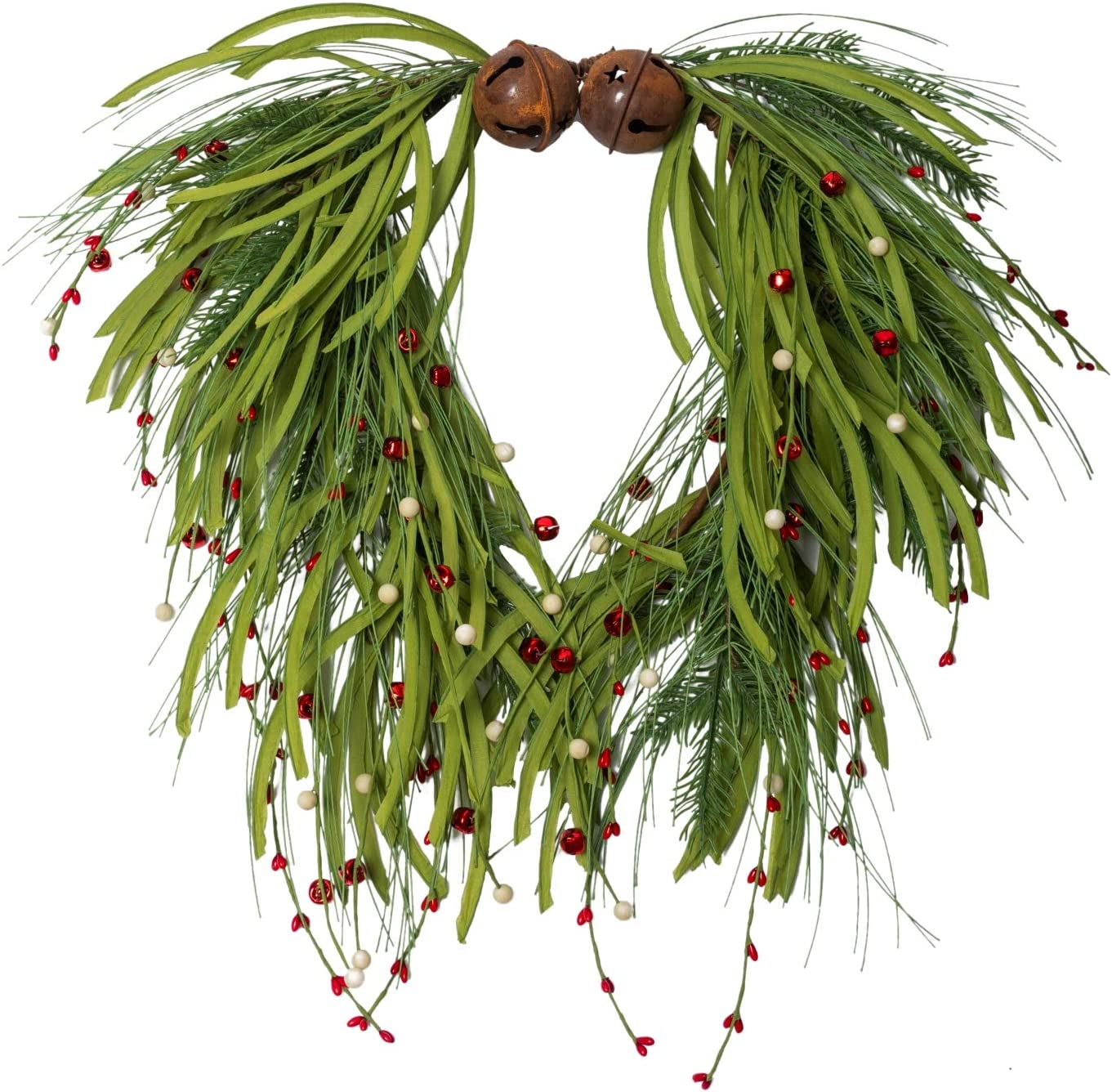 NeoL'artes 20 Inch Green Grapevine Front Door Wreath with Bells and Berries for Christmas Home Decor