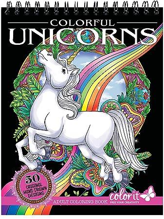 Amazon Com Colorit Colorful Unicorns Adult Coloring Book 50