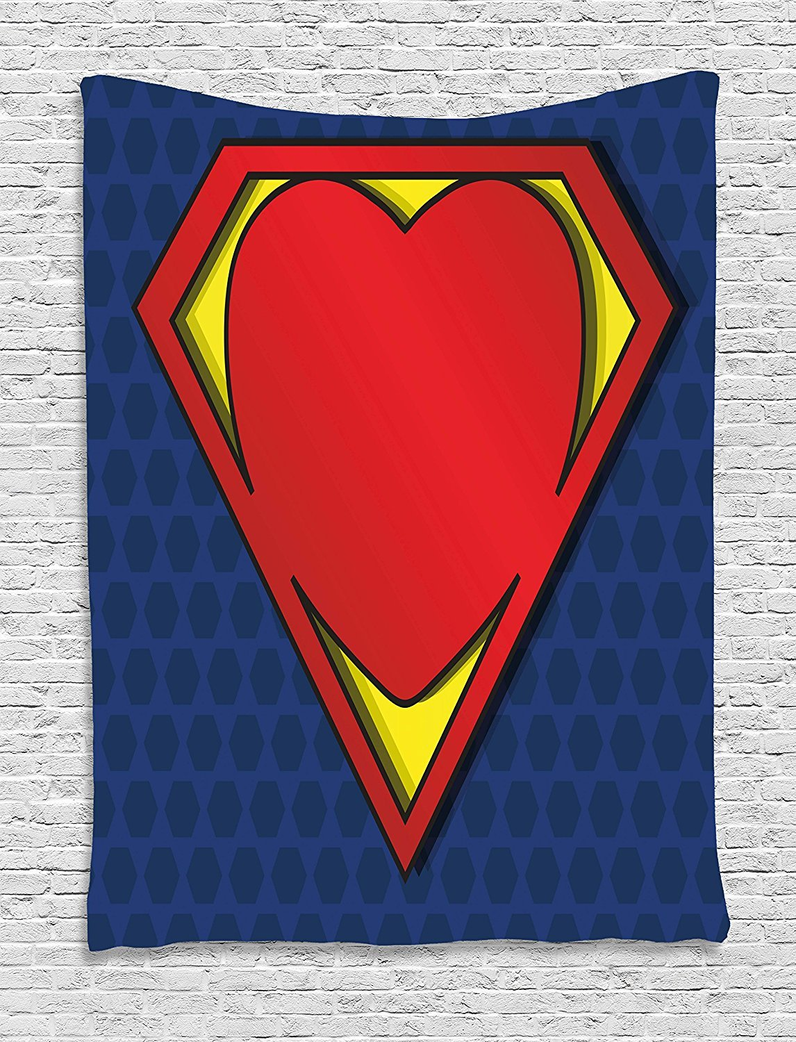 asddcdfdd Superhero Tapestry, My Super Man Shield Logo with Heart Figure Valantines Romance Print, Wall Hanging for Bedroom Living Room Dorm, 60 W X 80 L Inches, Night Blue Red Yellow