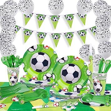 GVOO Fiesta Fútbol,Vajilla Fiesta Fútbol,120 Piezas Artículos Fiestas Cubierto para Cumpleaños Incluye Trompeta, Globos, Mantel, ...