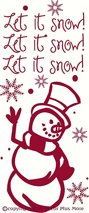 Wall Decor Plus More Wdpm2321 Let It Snow Quote With Snowman And Snowflakes Decal Wall Vinyl Sticker 10w X 23h Red 1 Pack Decorative Wall Appliques Amazon Com