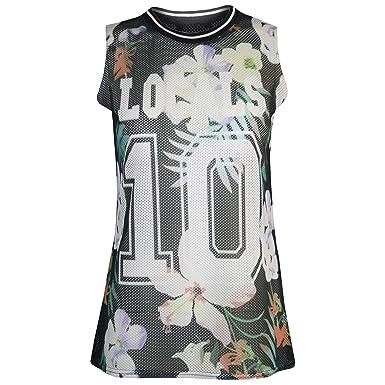 f3dd6a057a4 Womens Ladies Celebrity LOCALS 10 Floral Airtex Mesh Vest T Tee Shirt Tank  Top  COLOR  FLORAL BLACK  SIZE  M-L  Amazon.co.uk  Clothing