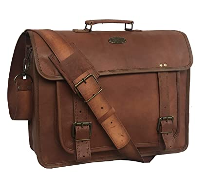 Image Unavailable. Image not available for. Color  RK Unisex Vintage  Genuine Handmade Leather Briefcase Laptop Messenger ... a3009cd078982