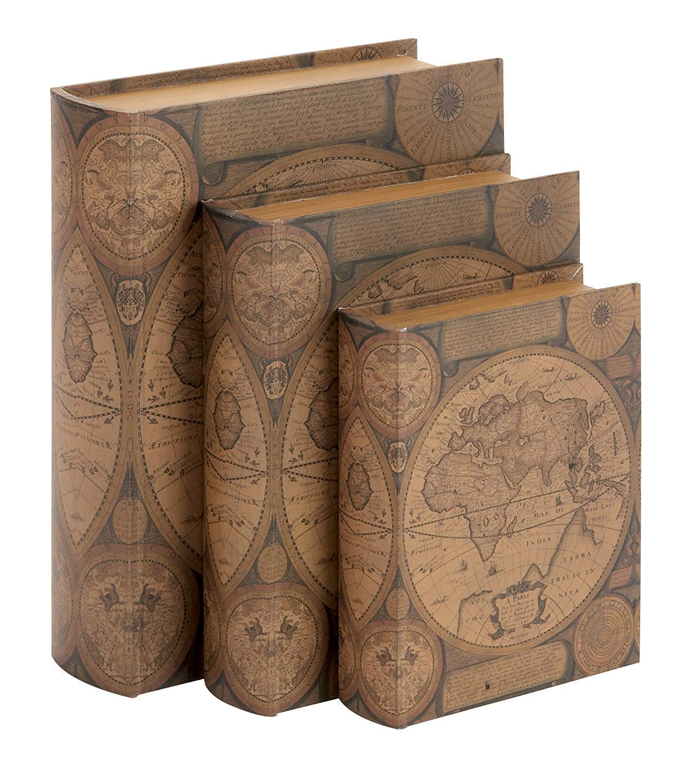 Bellaa 28052 Book Box Set of 3 Old World Map Flux Leather Brown Globe