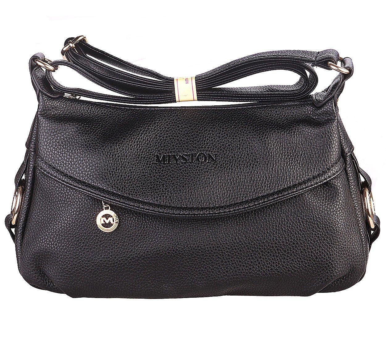 Women's Fashion Genuine Leather Cross Body Shoulder Bag Hobo Style Purse Satchel Handbag for Ladies (Black)