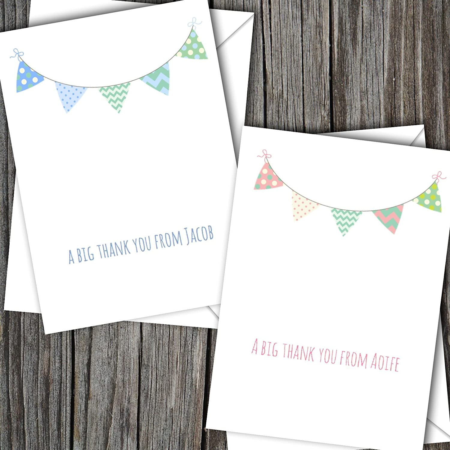 10 Personalised Boy//Girl Baby Thank You Cards FREE UK DELIVERY SBD17