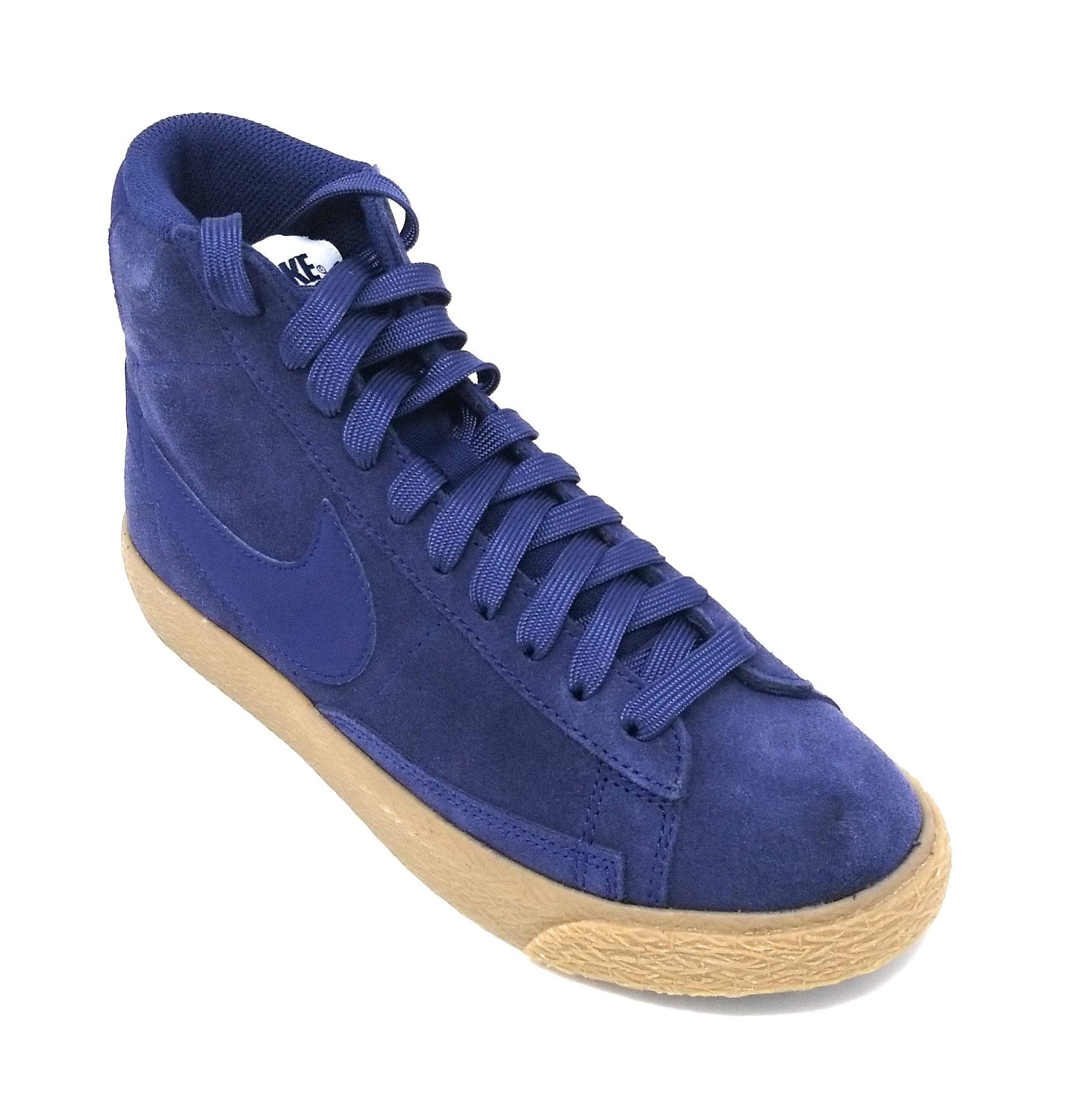 NIKE Blazer Mid Grade School Black Leather (4.5Y, Binary Blue/Gum Brown)