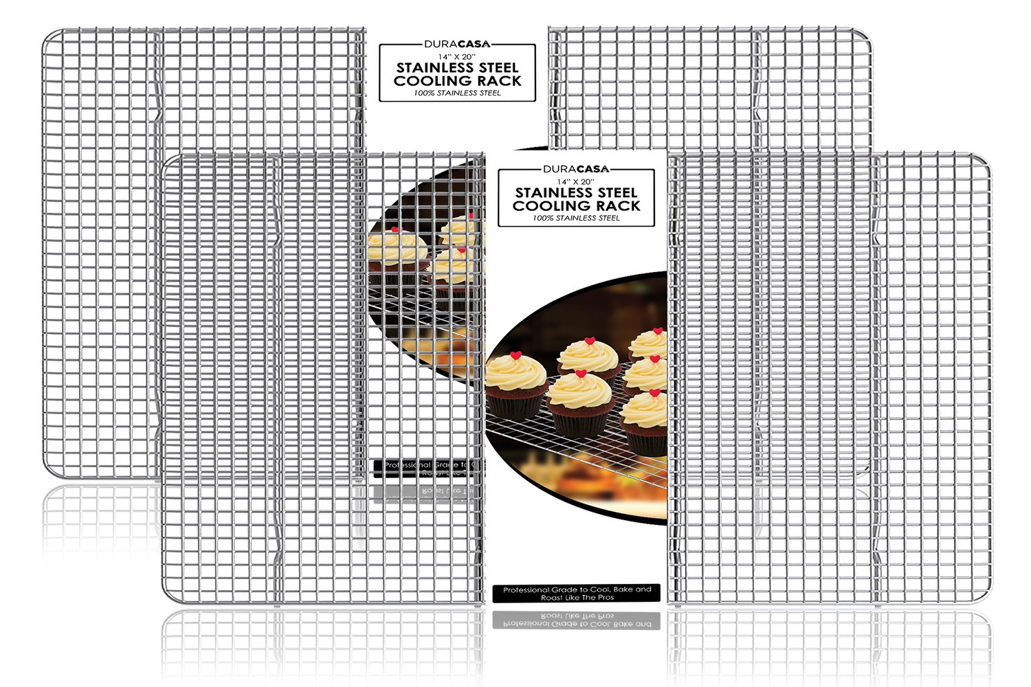 Baking Rack, Cooling Rack, TWIN SET OF 14'' X 20'' Stainless Steel 304 Grade Roasting Rack - Heavy Duty Oven Safe, Commercial Quality Cooling Racks For Baking (14'' X 20'')