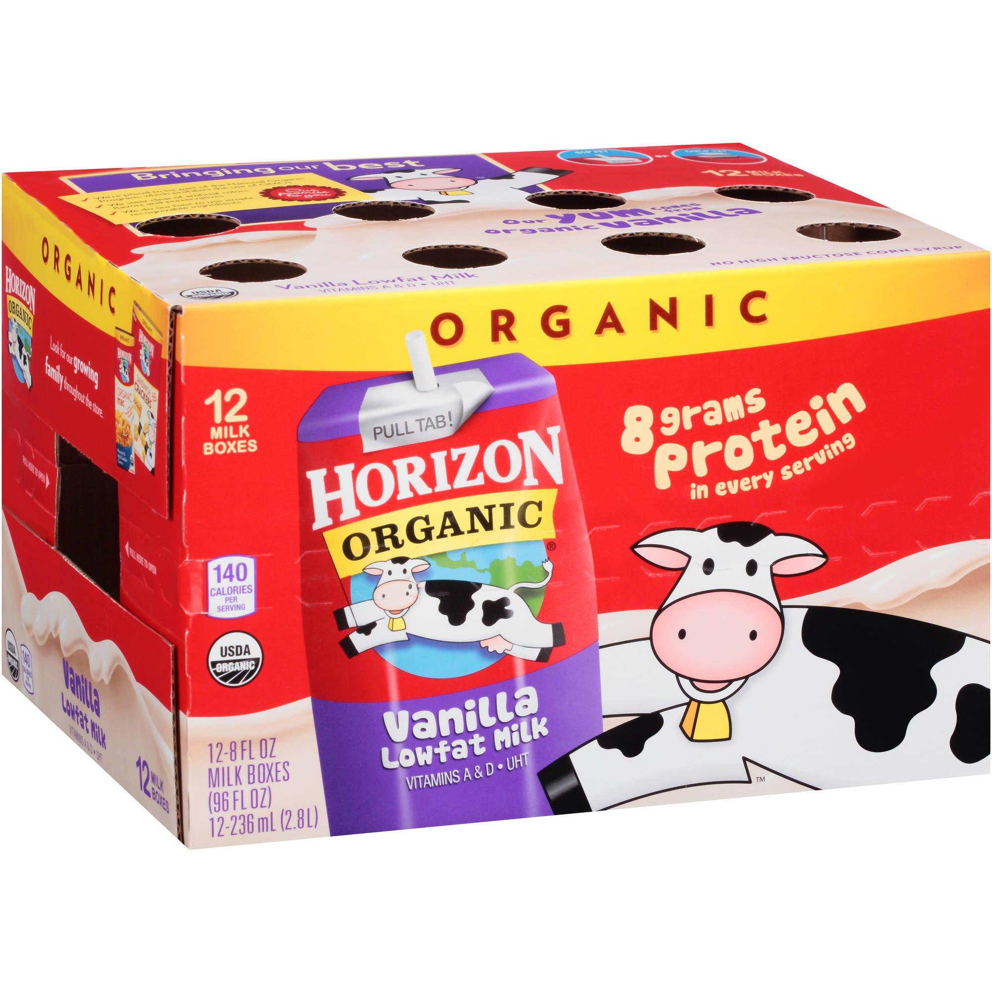 Horizon Organic Low Fat Organic Milk Box, Vanilla, 8 Ounce (Pack of 60)