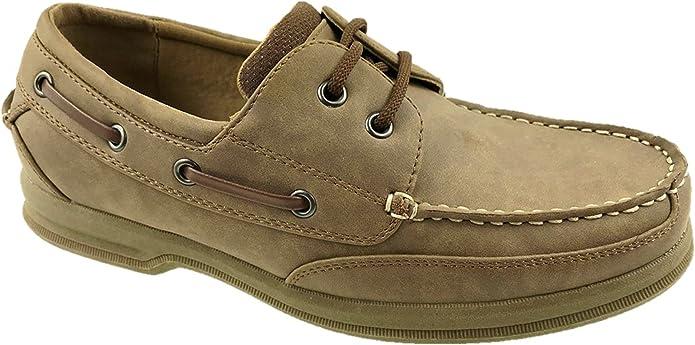 TALLA 42.5 EU. Zapatos de lona Oxford para hombre, de piel sintética, casual, con cordones, color marrón, talla 5-12