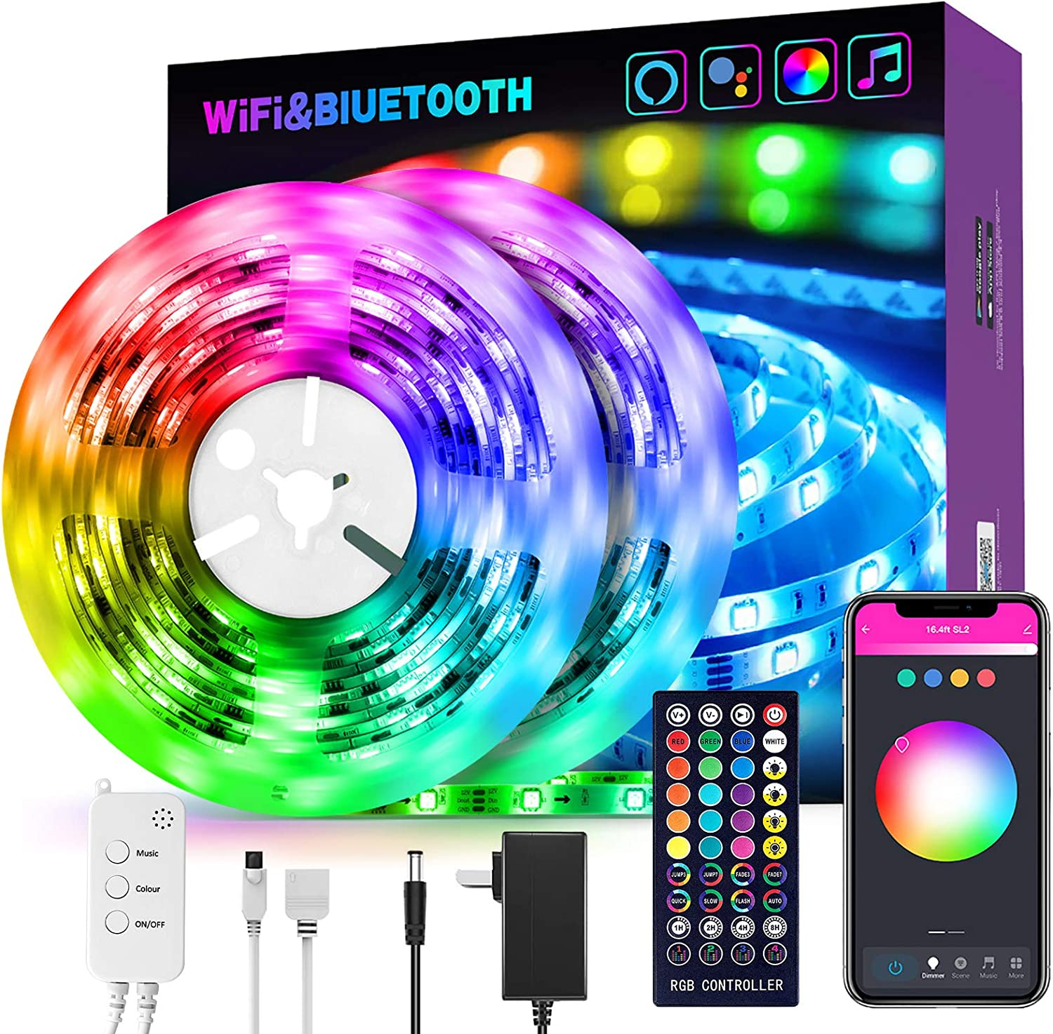 Smart LED Strip Lights 32.8 ft RGB Light Compatible with Alexa, Google Home, Music Sync Light Strips Bluetooth WiFi APP Remote Control for Bedroom Home TV