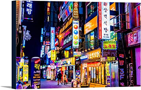 Seoul South Korea Neon Lights And Signs At Night Photography 108688 24x16 Gallery Wrapped Stretched Canvas Wall Art