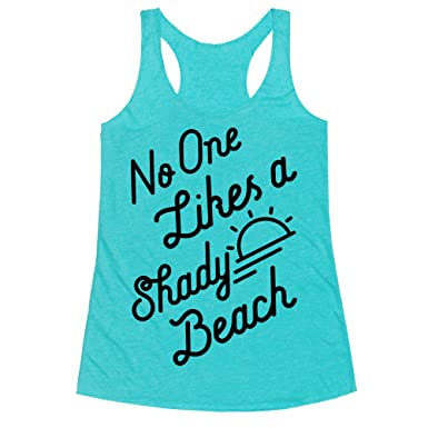 214d7c0a574c1b LookHUMAN No One Likes a Shady Beach Heathered Aqua X-Small Womens Triblend  Racerback Tank