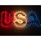 Red, White and Blue Lighted Patriotic USA Sign