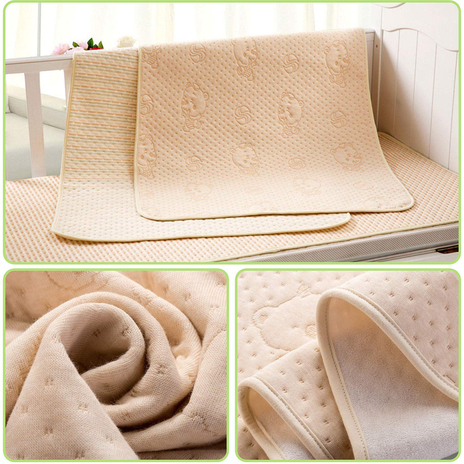 """Washable Mattress Pad Reusable Underpads Bed Wetting Incontinence Cover for Baby Toddler Children and Adults,27.6/""""X37.4/"""",Cotton 4 Protective Layers Ultra Bear Pattern Waterproof Bed Pads for Kids"""