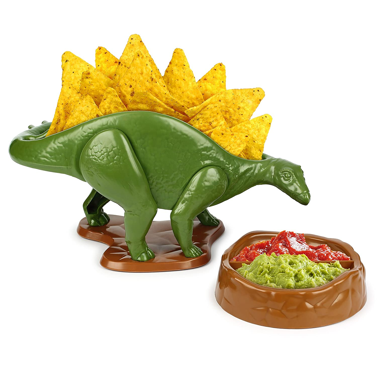 Barbuzzo UTU3GI0128 Nachosaurus Bowl & Dip Chip and Dip Serving Set and Snack Bowl, Green