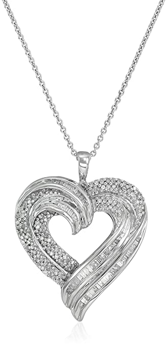 39f3bebdb74 Image Unavailable. Image not available for. Color  Sterling Silver Diamond  Heart Pendant Necklace (1 2 cttw) ...