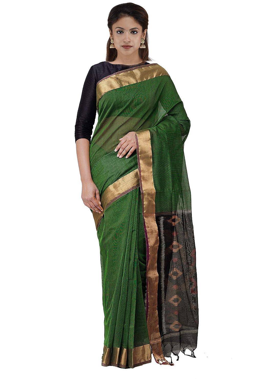 0e74f7884232a2 Unnati Silks Women Pure Handloom Pochampally Cotton Silk Saree with blouse  piece from the Weavers of Andhra Pradesh(UNM30559+Black-Green+Free size):  ...