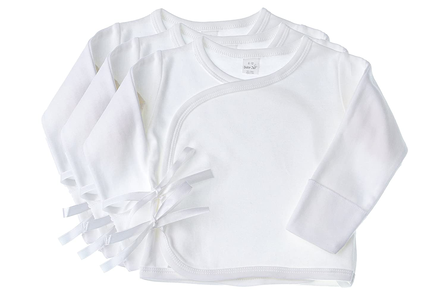 Baby Jay 3 Pack Baby Shirt Soft Cotton White Wrap With Satin Ribbon For Infants by