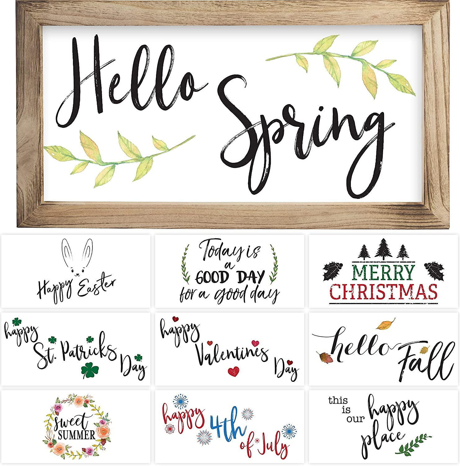 """Farmhouse Wall Decor Signs With 10 Interchangeable Sayings – Perfect For Spring and Summer Decoration - Beautiful 9X17"""" Rustic Wood Picture Frame with 10 Designs – Easy To Hang Spring Decor For Your Home"""