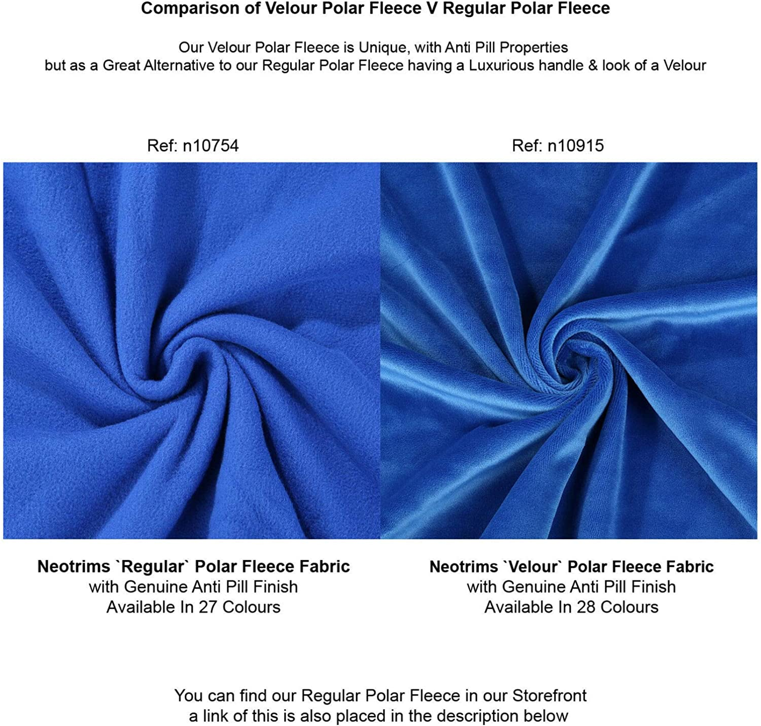 Great Drape /& Handle Quality Material 28 Fashion Colours Velour Polar Fleece Anti Pill Fabric Natural Stretch Pile for Garments Home D/écor /& Crafts. Medium Weight