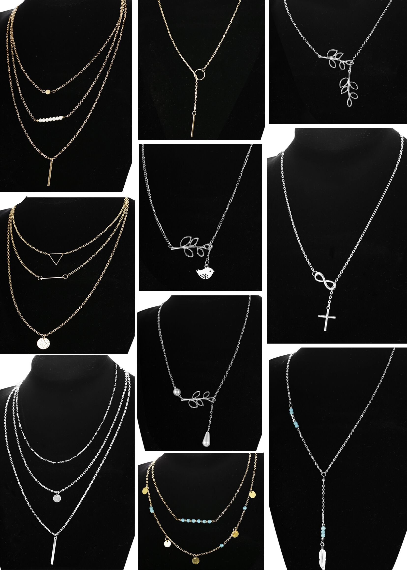 LOLIAS 10 Pcs Layered Pendant Necklace for Women Girls Boho Y Choker Necklace Set