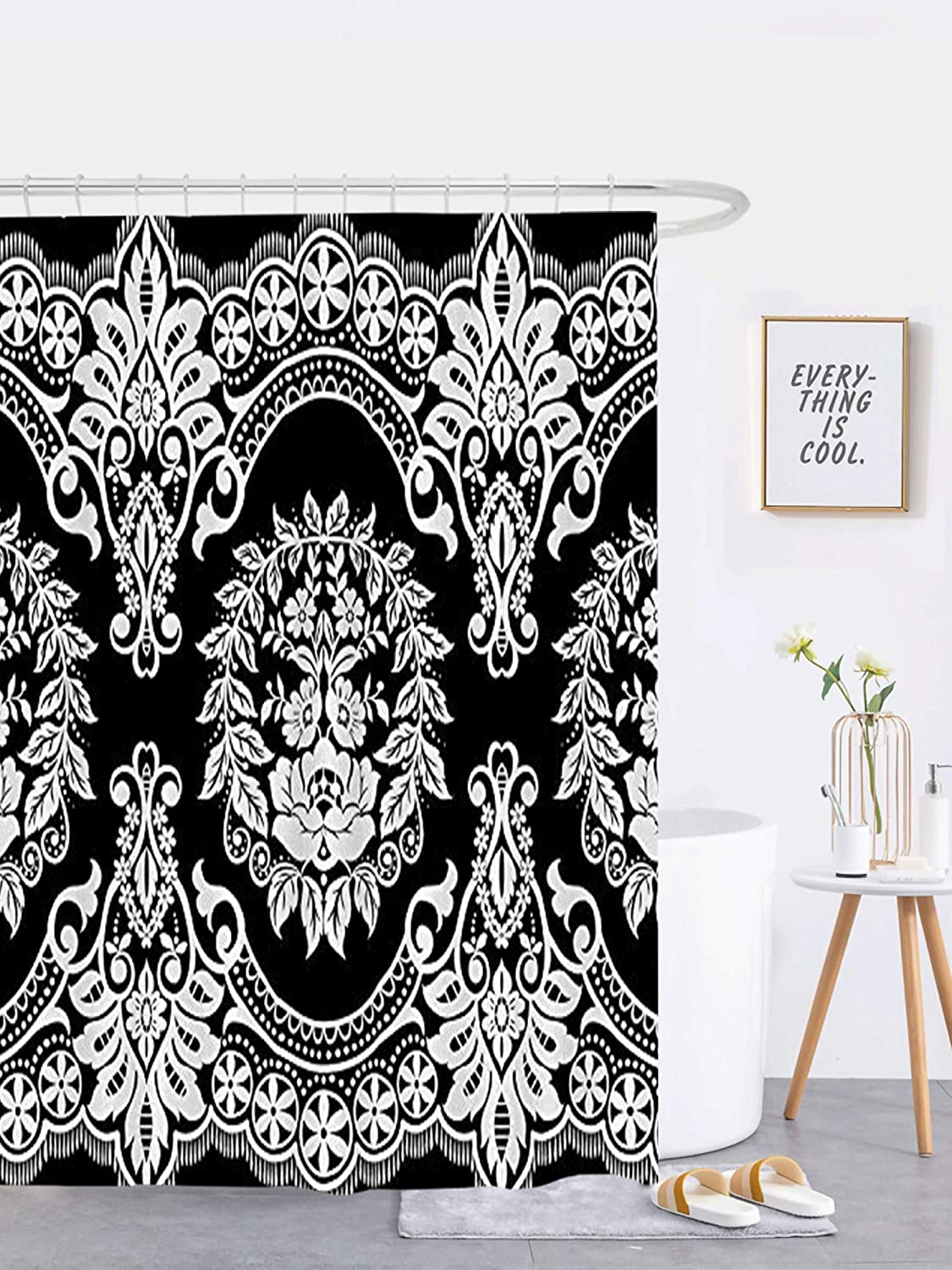 JOOCAR Bathroom Decor Shower Curtain Lace Pattern Flower Vintage Background Black and White Damask Home Curtain Sets with Hooks Polyester Fabric Great Gift