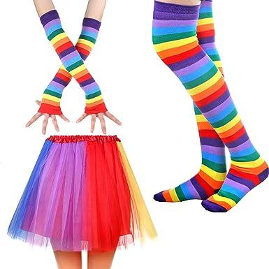 Rainbow Ruffle Tutu Skirt 80/'s Fancy Dress Hen Party Unicorn Music Charity Pride