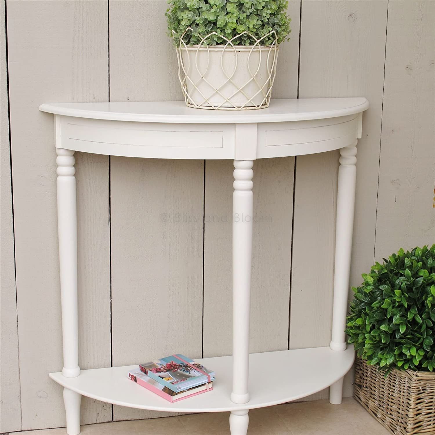 Bliss And Bloom Hallway Console Table Half Moon Side Board   Ivory:  Amazon.co.uk: Kitchen U0026 Home