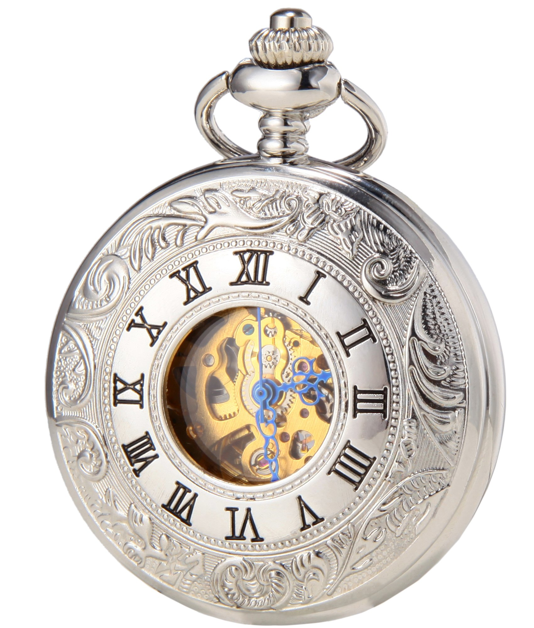 SEWOR Vintage Hollow Pocket Watch Automatic Mechanical Self Wind & Luxury Leather Gift Box (Sliver) by SEWOR