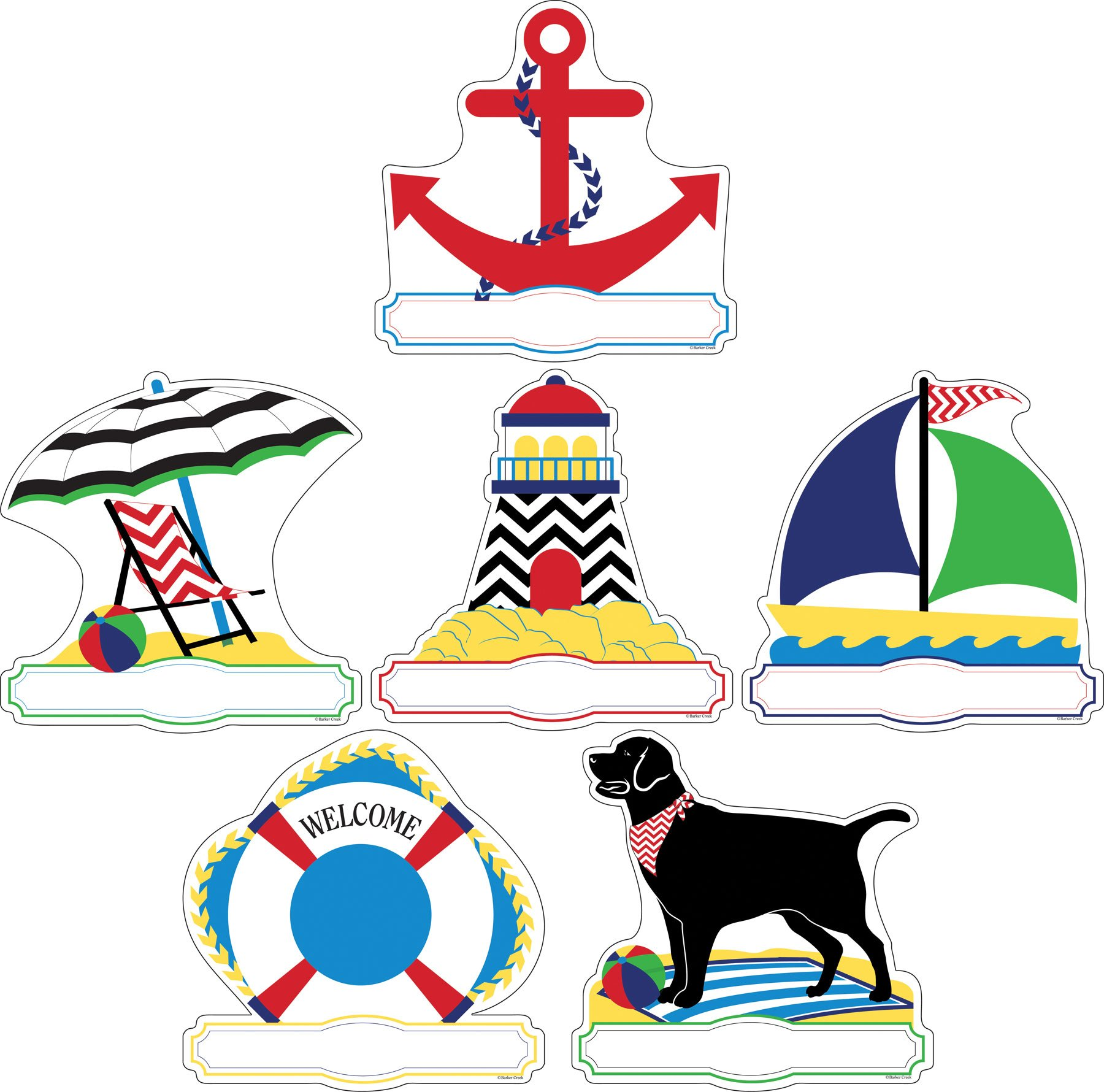 Barker Creek Double-Sided Accents 2 Pack- Chevron Nautical (BC3713)