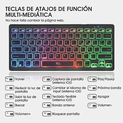 Rii K09 Teclado Inalámbrico Bluetooth, Teclado de Español RGB Colores Retroiluminado - Teclado Bluetooth 4.0 Ultra Delgado con Batería Recargable, ...
