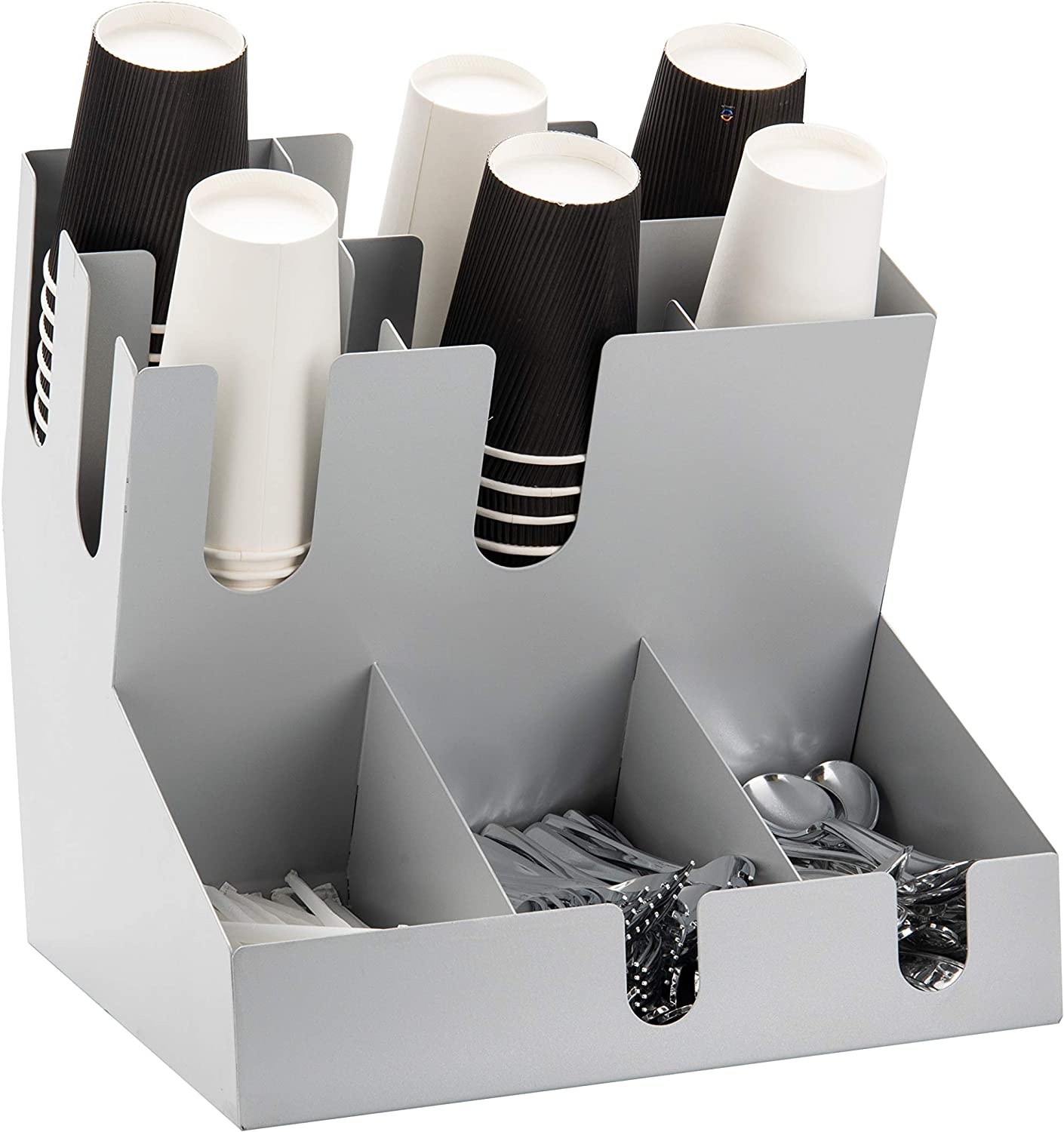 Mind Reader Condiment Station Multi-Section Organizer for Hot or Cold Disposable Cups, Lids, Straws, Utensil Storage, Stainless Steel, Silver