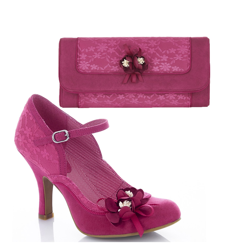 Ruby Shoo Women's Fuchsia Pink Lace Silvia Mary Jane Pumps & Matching Genoa Bag UK 6 EU 39 by Ruby Shoo
