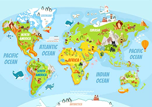 Sonicprint Children S World Map Fun And Educational Many Including Frames Amazon Co Uk Kitchen Home