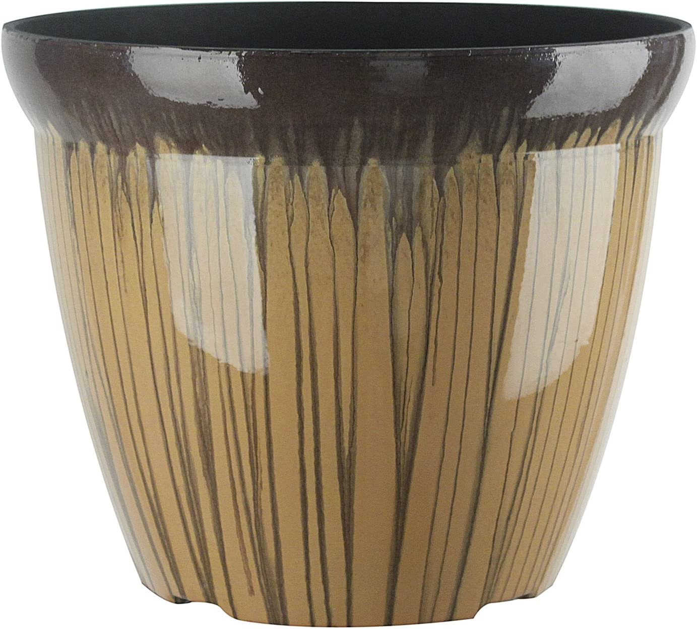 FANTASTIC :) 11-INCH Round Drum Shape Shinny Finish Decorative Plastic Planters Flower Pot-(1-Pack, DoubleGlaze Orange)