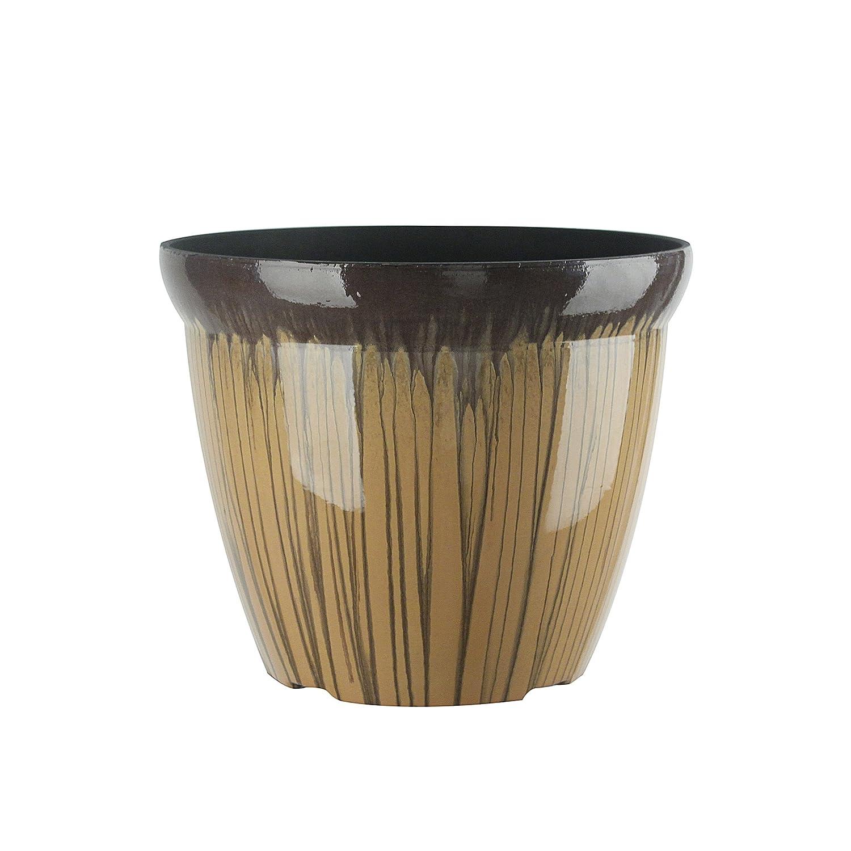 FANTASTIC 11-INCH Round Drum Shape Shinny Finish Decorative Plastic Planters Flower Pot- 1-Pack, DoubleGlaze Orange