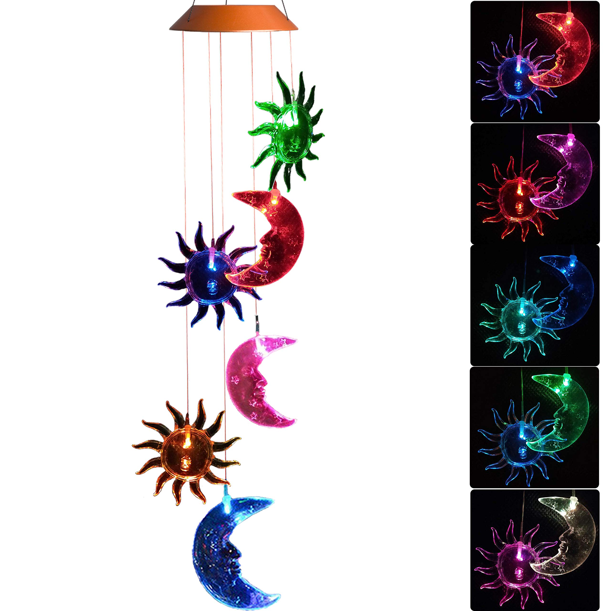 CXFF LED Solar Sun and Moon Wind Chimes Outdoor - Waterproof LED Changing Light Color Wind Chime, Six Suns and Moons Wind Chimes for Home, Party, Night Garden Decoration
