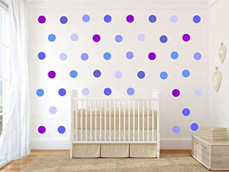 Pareti Cameretta A Pois : Coriandoli blu viola a pois kit adesivi da parete cameretta dei