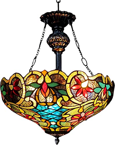 Chloe Lighting CH1A674VB18-UH2 Leslie Tiffany Style Victorian 2 Light Inverted Ceiling Pendent with Shade, 28.25 x 18 x 18 , Multicolor