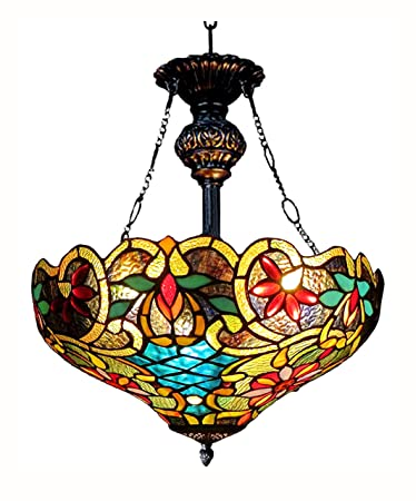DOCHEER Tiffany-Style Stained Glass 2-Light Hanging Lamp Ceiling Pendant Light Fixture with 16.1-Inch Wide Shade Lighting