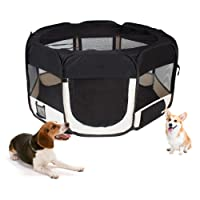 Parque Parque Cachorro Animales plástico portátil para perros, gatos, conejos y pequeño Animales, 125 x 125 x 64 cm, (Negro)
