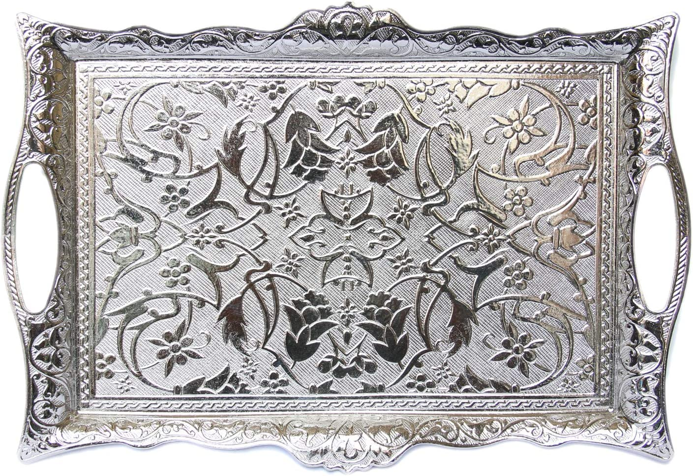 Alisveristime Turkish Ottoman Coffee Tea Beverage Serving Square Tray (Silver)