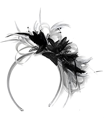Silver Grey and Black Fascinator Headband for Weddings Royal Ascot Races   Amazon.co.uk  Clothing 85ae4b83402