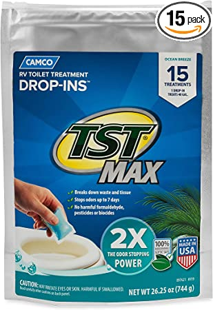 Amazon Com Camco Tst Max Ocean Scent Rv Drop Ins Eliminates Odors And Aids In Breaking Down Holding Tank Waste Includes 15 Per Bag 41614 Automotive