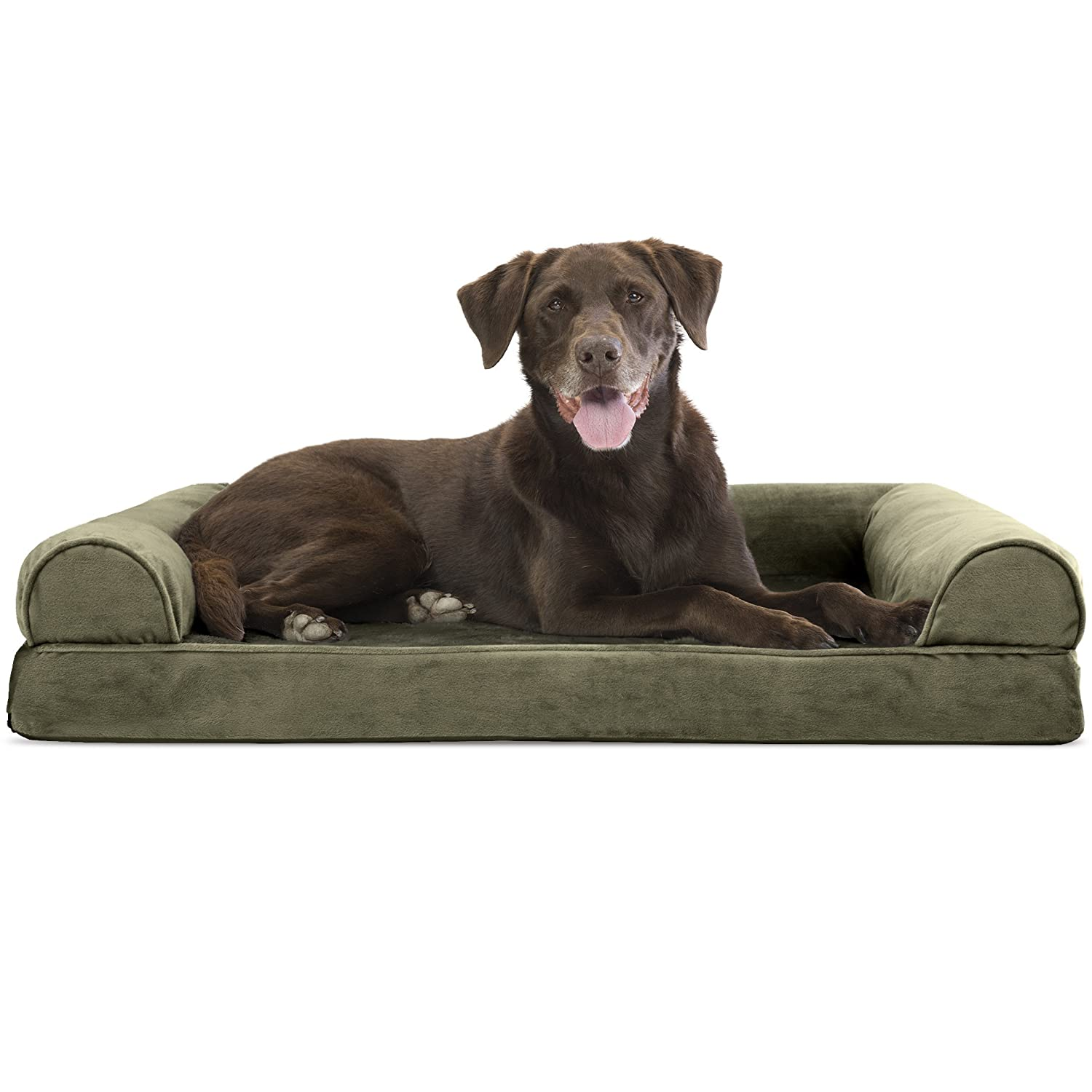 FurHaven Pet Dog Bed   Orthopedic Faux Fur & Velvet Sofa-Style Couch Pet Bed for Dogs & Cats, Dark Sage, Large