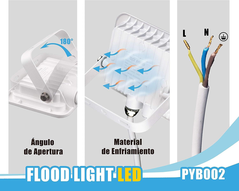 Popp PACK 2 Floodlight Led Foco Proyector Led para Exterior Iluminación Decoración 6000k luz fria Impermeable IP65 blanco con cristal opal y Resistente al agua. (20): Amazon.es: Iluminación