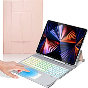 Touch Keyboard Case with Trackpad for iPad Pro 12.9 inch 5th 4th and 3rd Generation, Slim Folio Backlights iPad Case with Keyboard - Rose Gold