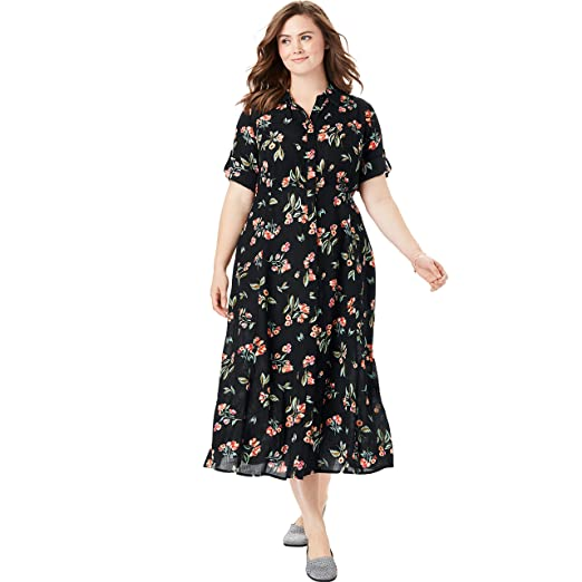 610e64d032136 Woman Within Women's Plus Size Crinkle Shirtdress